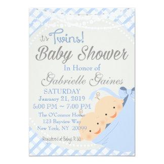 対の男の子の国のチャームのベビーシャワーの招待状 カード