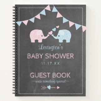 対の男の子の女の子象のベビーシャワーの来客名簿  ノートブック