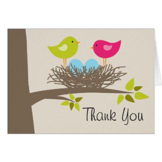 対の男の子の鳥の巣は感謝していしています カード