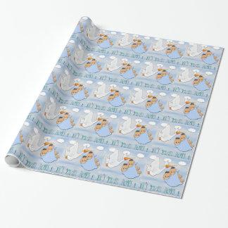対の男の子-こうのとりのベビーシャワーの包装紙 ラッピングペーパー