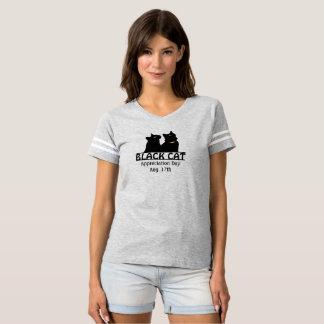 対の黒猫の感謝日のワイシャツ Tシャツ