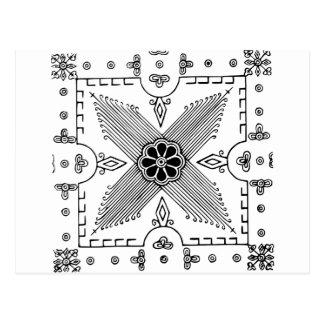 対称のインドネシアの織物の花模様 ポストカード