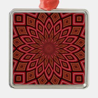 対称の万華鏡のように千変万化するパターンの赤の抽象芸術の背景 メタルオーナメント