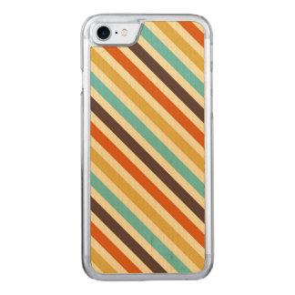 対角線は4つのレトロ色の青く黄色い赤を縞で飾ります CARVED iPhone 8/7 ケース