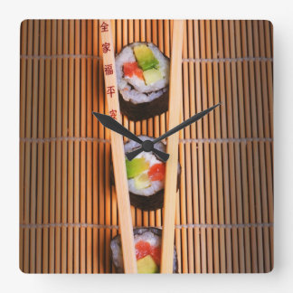寿司および木の箸 スクエア壁時計