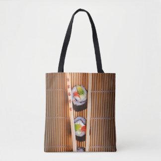 寿司および木の箸 トートバッグ
