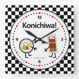 寿司および醤油- Konichiwa -フレンドリーな食糧 スクエア壁時計