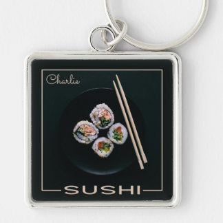 寿司のカスタムなモノグラムのキーホルダー キーホルダー