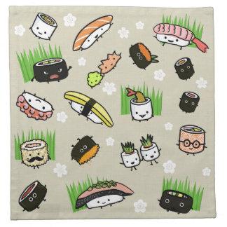 寿司のパーティ-寿司ロール、刺身、Wasabiのショウガ ナプキンクロス