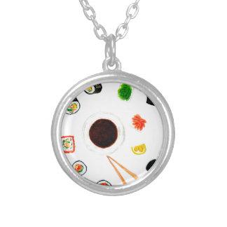 寿司の一定の水彩画 シルバープレートネックレス