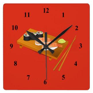 寿司の日本のな漫画の食糧 スクエア壁時計