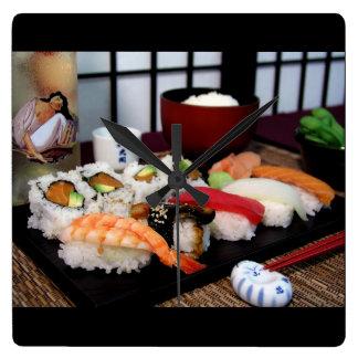 寿司の時間 スクエア壁時計