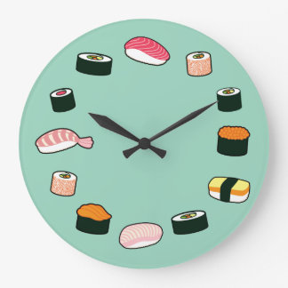 寿司の時間! ファンキーな(真新しい)柱時計 ラージ壁時計