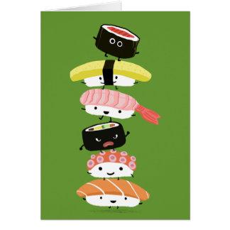 寿司の積み重ね-寿司の友人の幸せなタワー カード