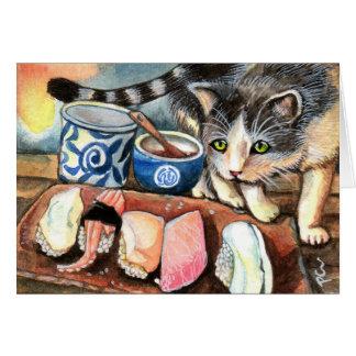 寿司を見ている猫 カード