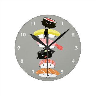 寿司タワー-かわいい寿司の友人 ラウンド壁時計