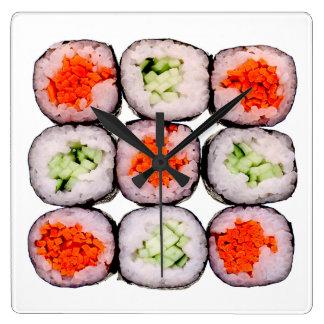 寿司ロール日本のな食糧テンプレート スクエア壁時計
