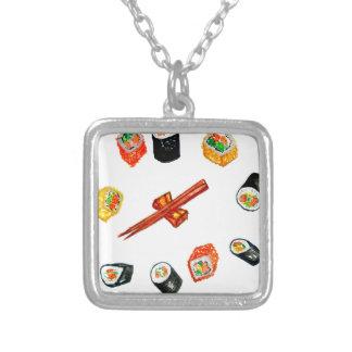 寿司一定Watercolor2 シルバープレートネックレス