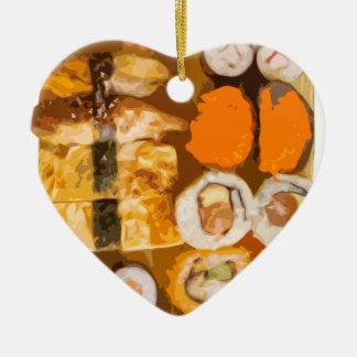 寿司 陶器製ハート型オーナメント