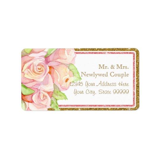 封筒の宛名ラベルの水彩画のばら色の花束 ラベル