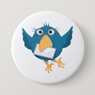 封筒を握っている青い鳥 7.6CM 丸型バッジ