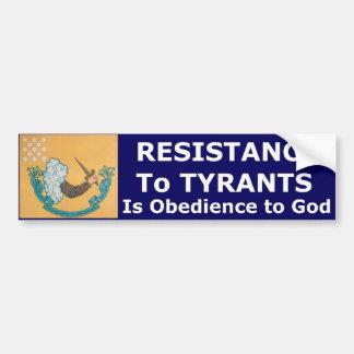 専制君主への抵抗は神へ従順です バンパーステッカー