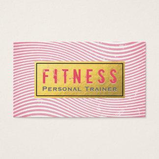 専門のフィットネスのパーソナルトレーナーのピンク及び金ゴールド 名刺