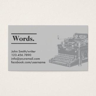 専門のレトロのタイプライターの作家の名刺 名刺