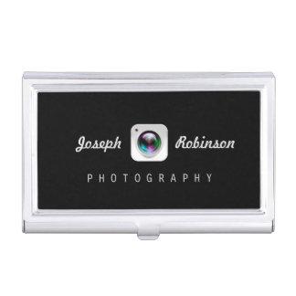 専門の写真撮影のカメラレンズのロゴの記号 名刺入れ