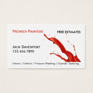 専門の塗装業者の赤いペンキの名刺 名刺