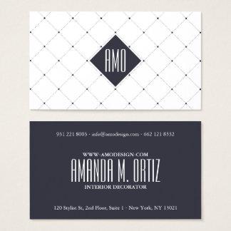 専門の白い濃紺のエレガントなドット・パターン 名刺