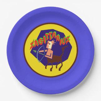 射手座の占星術の印の(占星術の)十二宮図の紙皿 ペーパープレート