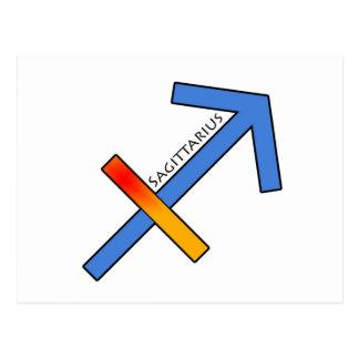 射手座の(占星術の)十二宮図の印、占星術sagitarius ポストカード