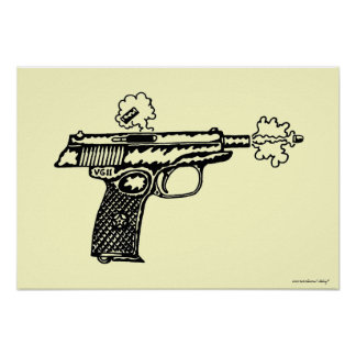 射撃、発砲銃のグラフィックアートポスターデザイン ポスター