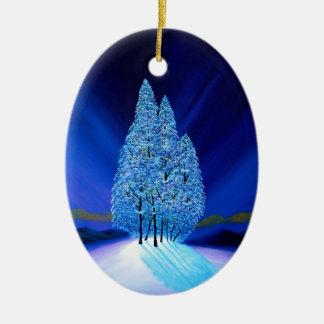 小ぎれいな木の青いクリスマス7 セラミックオーナメント