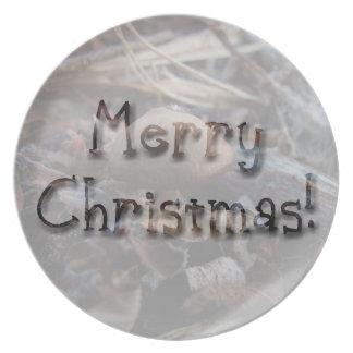 小さいきのこ; メリークリスマス プレート