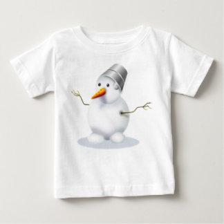 小さいぽっちゃりした雪だるま ベビーTシャツ
