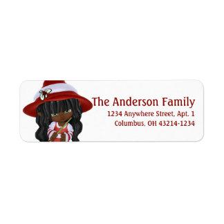 小さいアフリカ系アメリカ人のクリスマスの魔法使い 返信用宛名ラベル