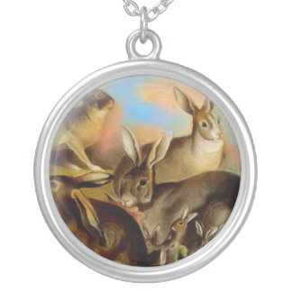 小さいウサギ家族の円形の銀製のネックレス シルバープレートネックレス