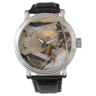 小さいオレンジきのこ 腕時計
