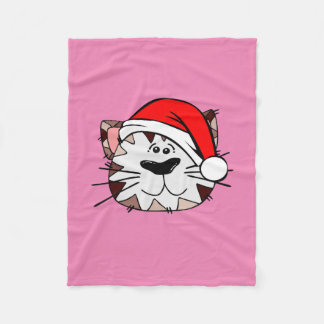 小さいサンタ猫のピンクのフリースブランケット フリースブランケット
