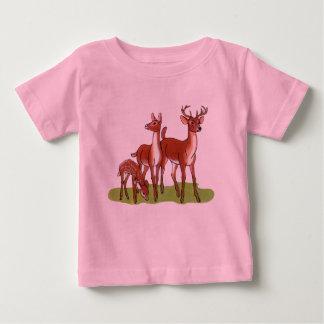 小さいシカ家族 ベビーTシャツ