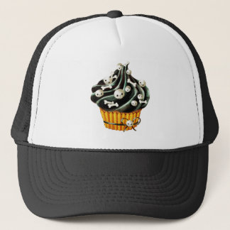 小さいスカルを搭載するハロウィンの黒いカップケーキ キャップ