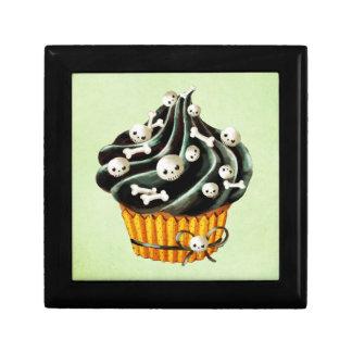 小さいスカルを搭載するハロウィンの黒いカップケーキ ギフトボックス