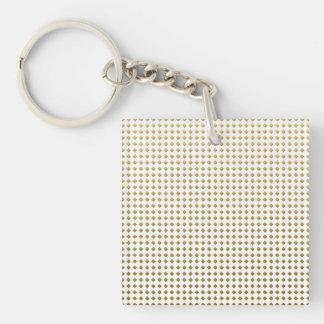 小さいダイヤモンドの正方形の金黄色いパターン キーホルダー