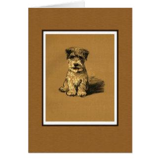 小さいテリアの小犬 グリーティングカード