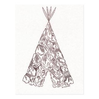 小さいネイティブアメリカンから成っているインディアン-テント小屋- ポストカード