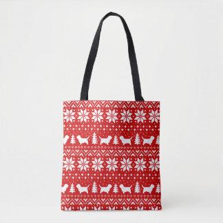 小さいバセット犬のGriffon Vendeenのクリスマスパターン赤 トートバッグ