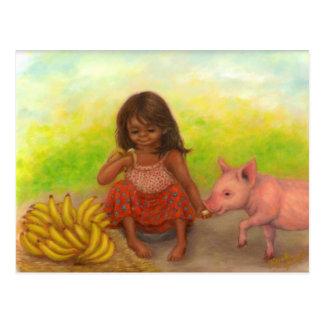 小さいバナナの販売人の郵便はがき ポストカード