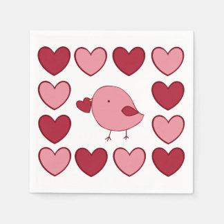 小さいバレンタインのひよこの紙ナプキン スタンダードカクテルナプキン